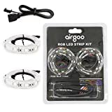 Extended Computer Magnetic LED Strip - 2pcs Magnetic RGB LED Strip Light for ASUS Aura RGB/MSI Mystic Light/ASROCK Aura RGB Motherboard with 4pin RGB LED Strip Header, Not Digital RGB Header
