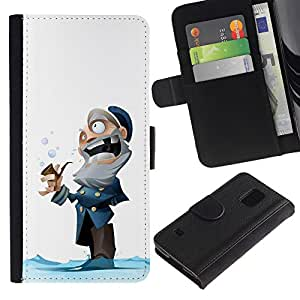 Paccase / Billetera de Cuero Caso del tirón Titular de la tarjeta Carcasa Funda para - captain old man winter cartoon kids - Samsung Galaxy S5 V SM-G900