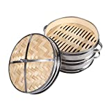 """8"""" 2 Tiers Bamboo Steamer Dim Sum Basket Rice Pasta Cooker Set Food Steamers With Lid"""