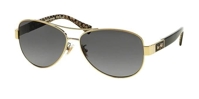 35e3309da3 Coach Womens Christina Sunglasses (HC7047) Gold Grey Metal - Polarized -  59mm