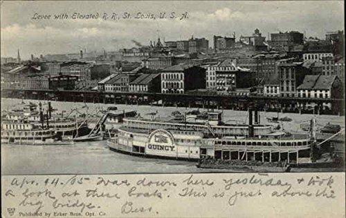 Levee with Elevated Rail Road St. Louis, Missouri Original Vintage Postcard
