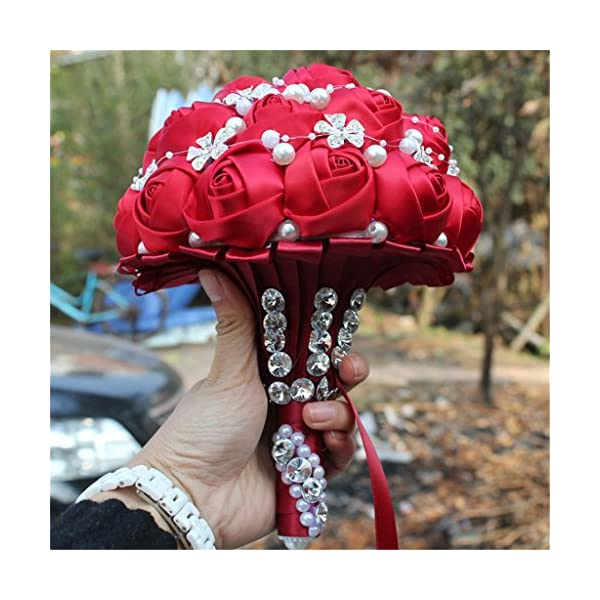 S-SSOY Wedding Bouquet Bride Bridal Brooch Bouquets Bridesmaid Bouquet Diamond Pearl Ribbon Valentine's Day Confession Party Church with Free Corsage Flower, Red