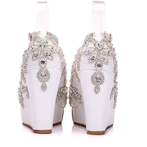 Kristall Diamant MSFS Damen Abend Schuhe Hochzeit Knöchelriemen Braut Party 35 Bis 41 Plattform amp; Keil Größe zqa4Ufq