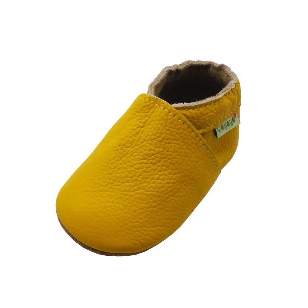 SAYOYO Baby Soft Sole Prewalkers Skid-Resistant Baby Toddler Shoes Cowhide Shoes (12-18 Months, Yellow) by SAYOYO