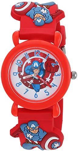MARVEL Boys Avenger Analog-Quartz Watch with Plastic Strap, red, 16 (Model: WMA000159) (Kids Avengers Watch)