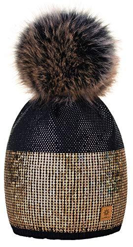 Cristales de 4sold Lentejuelas o Color Negro Pursed mayor Pompom Negro por y Beanie Tama al punto Winter For Un Lady Woman Beanies 0rHBnTU0