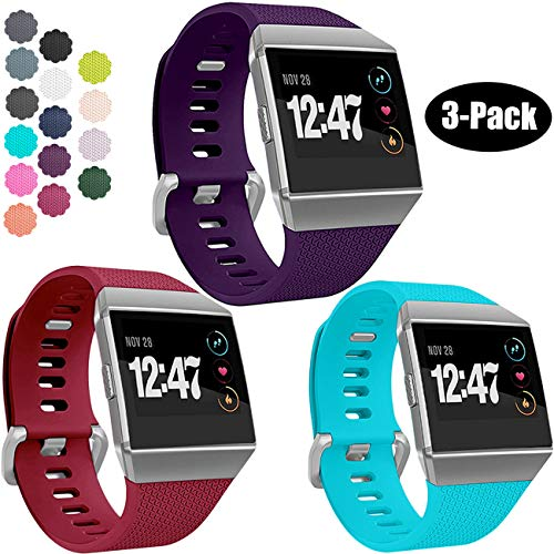 Wepro Bands Compatible with Fitbit Ionic SmartWatch, Watch Replacement Sport Strap for Women Men Kids, Small, Wine Red, Teal, Plum