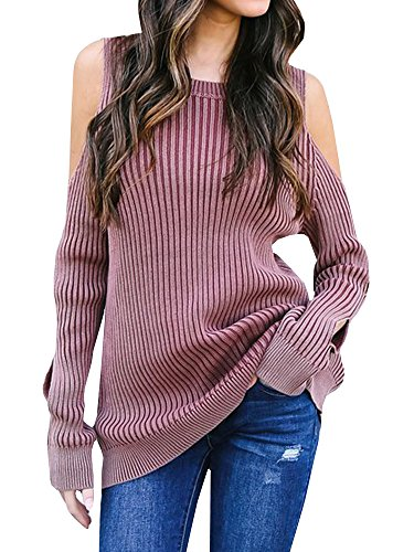 SUNMMWERY Womens Cold Shoulder Cut Out Long Sleeve Ribbed Pullover Sweater Jumpers