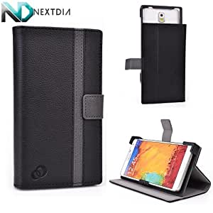 Celkon AR50 Stand and Case Cover | Sliding Camera Access | Black and Smokey Grey + ND VELCRO TIE