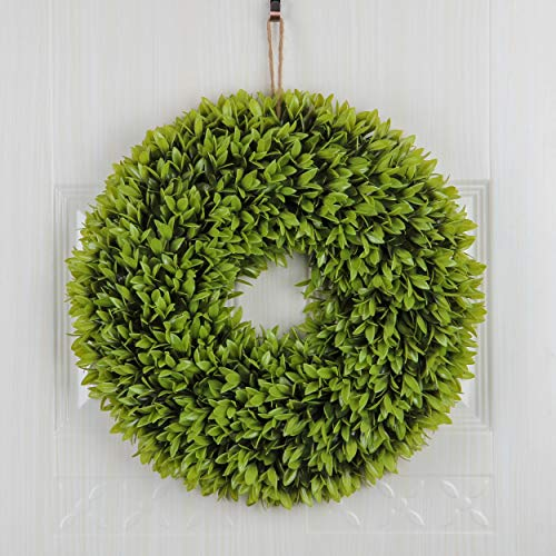 - Jusdreen 20 Inch Light Green Spring Artificial Front Door Wreath Home Décor for Window Wall Party Wedding Hanging Decorations Greenery Garland