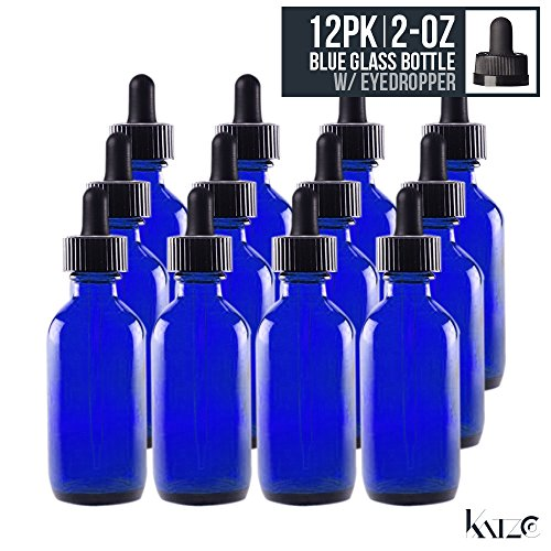 12 Pack- 2 Oz - Cobalt Blue Boston Round Glass Bottle With Glass Eye Dropper 60 ML - For Essential Oils, Fragrances, Beauty, Kitchen, Lab Chemicals, Medicine, Travel Etc. Re-Usable -By Katzco (E Vape Juice Flavors compare prices)