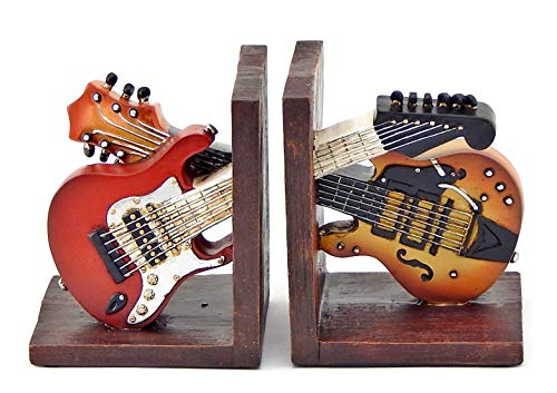 Bellaa 26249 Bookends Vintage Guitar Music Books Holder Gifts 6 Inch