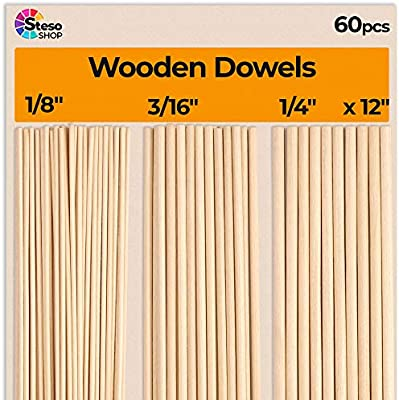 10-Pack Wooden Dowel Rods, Hygloss Products Inc 3//4-Inch x 12-Inch