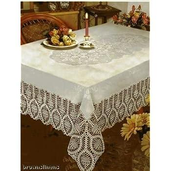 Amazon Com Crochet Lace Vinyl Tablecloth 60 Inch By 90