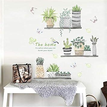 Garden Plant Bonsai Flower Butterfly Wall Stickers Home Decor Living