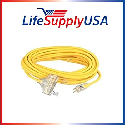 5 pcs 12/3 100ft Wire Gauge 3 OUTLET Tri-Source SJT Indoor Outdoor Vinyl LIGHTED Electric Extension Cord, 100 Feet