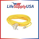 2 pcs 12/3 100ft Wire Gauge 3 OUTLET Tri-Source SJT Indoor Outdoor Vinyl LIGHTED Electric Extension Cord, 100 Feet