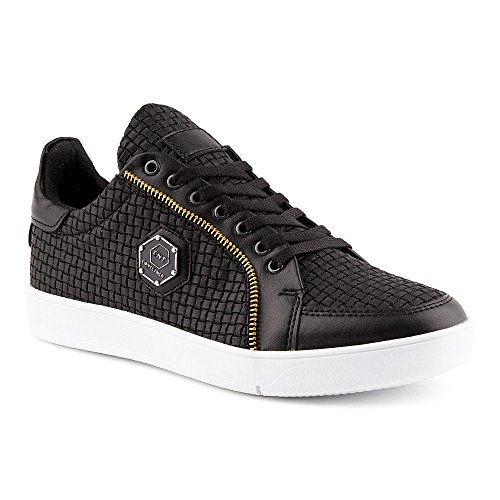 Sneaker Hommes Chaussures Noir Fivesix Sport De Blanc Zip Pour Motif F4qARX