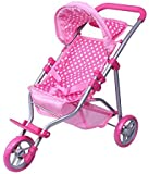 Precious Toys, Pink & White Polka Dots Foldable Doll Stroller Jogger, Foam Handles, and Hot Pink Frame