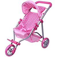 Precious Toys 0129B Polka Dots Foldable Doll Jogger with Hood, Pink/White