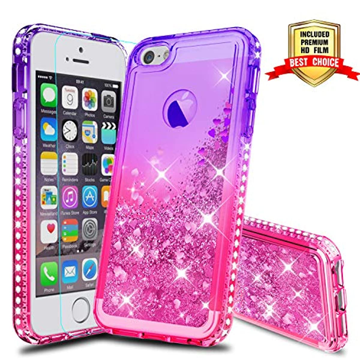 sneakers for cheap ec69b 58edf Details about iPhone 5S Case, iPhone SE Girly Cases with HD Screen  Protector, Atump Fun Glitte