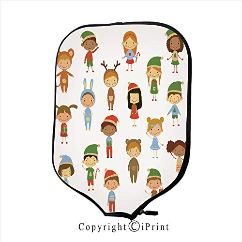 Neoprene Sports Pickleball Paddle Cover Sleeve,Cute Kids Wearing Costumes Vector (Size:8.23