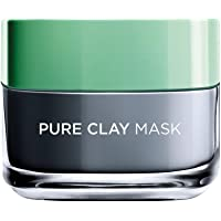 L'Oreal Paris Pure Clay Black Face Mask with Charcoal, Detoxifies & Clarifies, 50ml