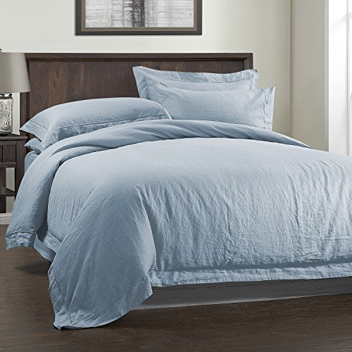 3 Piece Solid 100% Linen Duvet Cover Set (Full, Sky Blue)