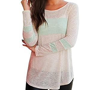 Women Tops, Gillberry Womens Cotton  Long Sleeve Round Neck Splice Shirt Blouse Tops T Shirt (S, Mint Green)