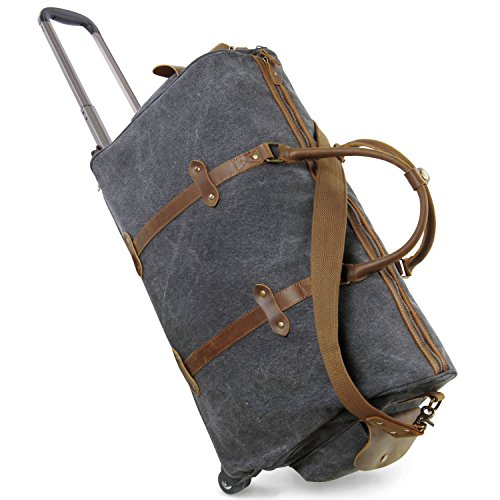 Lifewit Oversized Rolling Duffel Weekend Bag Canvas Leather Wheeled Travel Luggage