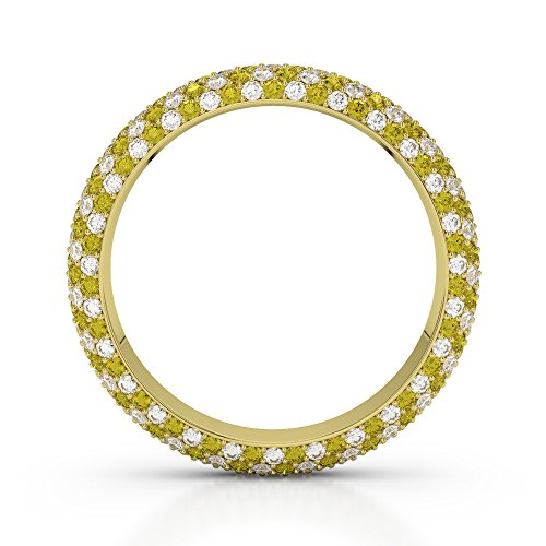 Or jaune 18carats 0,60CT G-H/VS sertie de diamants ronds Cut Saphir Jaune et éternité Bague Agdr-1116
