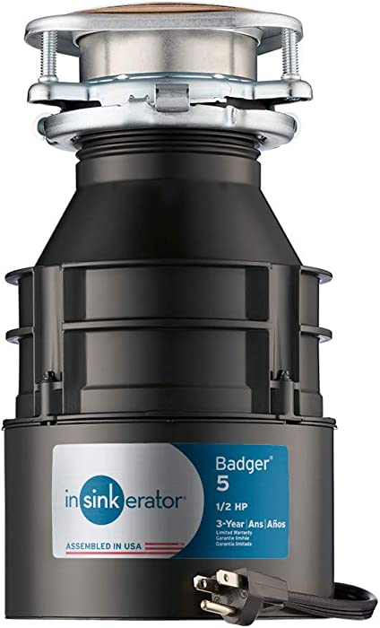 InSinkErator Garbage Disposal with Cord, Badger 5, 1/2 HP Continuous Feed