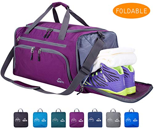 "Venture Pal 20"" Packable Sports Gym Bag with Wet Pocket & Shoes Compartment Travel Duffel Bag for Men and Women-Purple"
