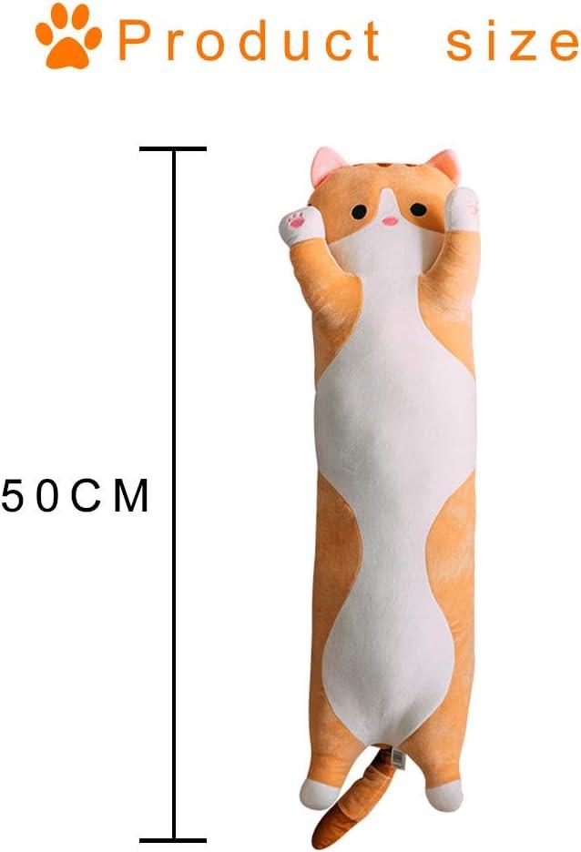 LAANCOO Peluche Chat Oreiller Gris 50cm Ultra doux Coton Long Oreiller C/âlin Oreiller en Peluche Pour Enfants Peluche d/écorative