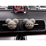 CREJOY 2-Pack Auto Mickey Mouse Sparkling Car Vent Clip Car Fragrance Air Freshener Holder Container (White)