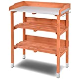 Custpromo Outdoor Wooden Potting Bench Work Planting Station w/Hook and Storage Shelf