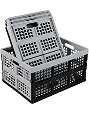 Qqbine 34 L Plastic Collapsible Storage Crates, Folding Crate Baskets, Black and Light Grey, 4 Packs