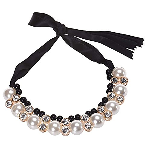 Ysunlight New Beads Rhinestone Necklace Double Row Band Ribbon Jewelry Imitation Pearl Chokers Necklaces Gift -