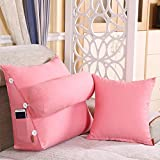 LQQGXL,Cushion, Cotton canvas Triangular pillows Bedside washable windows Neck adjustable waist pad ( Color : Light pink , Size : 6050cm(23.6219.68in) )