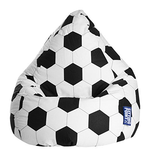 Gouchee Home Brava Collection Contemporary Oversized Cotton Upholstered Soccer Design Bean Bag Chair, Black/White by SITTING POINT
