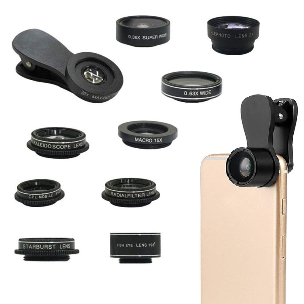 Antot Phone Camera Lens Kit, 10 in 1 Wide Angle + Macro Lens + Fisheye Lens + 2X Telephoto Lens + CPL/Radial/Star Filter + Kaleidoscope 6 Lens Compatible for iPhone XR 8 7 Samsung Smartphones & Tablet