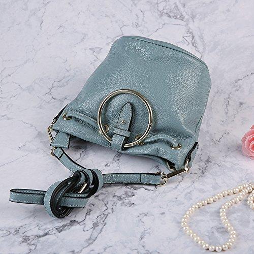 Piel Bolsa de cubo Mujer Bolsa de hombro Mini Bolsa de cuerpo cruzado para damas Bolsos con cierre de cremallera Cuero Bolso de mano Azul claro