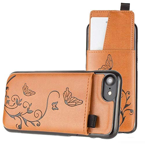 Apple iPhone 6 Embossed Butterfly Leather Case with Pull-Out Card Slot Organizer, Taupe