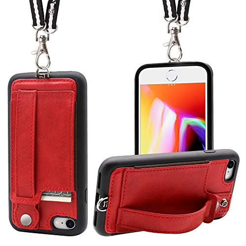 iPhone 7/8 Wallet Case Lanyard Neck Strap TOOVREN iPhone 7/8 TPU Protective Purse Case Cover with Kickstand Leather PU Card Holder Adjustable Detachable Necklace for Anti-Lost and Outdoors Red ()