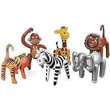 Inflatable Zoo Animals 6 Assorted - Jungle, Safari Party Supplies - Elephants Lions Tigesr Zebra Monkies Giraffes
