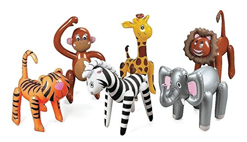 Inflatable Zoo Animals 6 Assorted - Jungle, Safari Party Supplies - Elephants Lions Tigesr Zebra Monkies Giraffes -