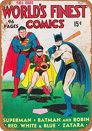 CustomClub Iron Painting Signs Home Decor 10 X 14 Metal Sign 1941 Superman, Batman & Robin Play Baseball Vintage Look