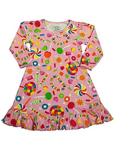 (Sara's Prints - Little Girls Puffed Long Sleeve Candy Nightgown, Pink)