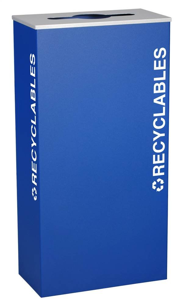 Ex-Cell Kaiser RC-KD17-R RYX Kaleidoscope XL Series Rectangular Steel Indoor Recyclables Receptacle with Textured EXL-Coat Powder Coat Finish, 17 Gallon Capacity, 9-1/2'' Length x 18-1/4'' Width x 35-1/2'' Height, Royal