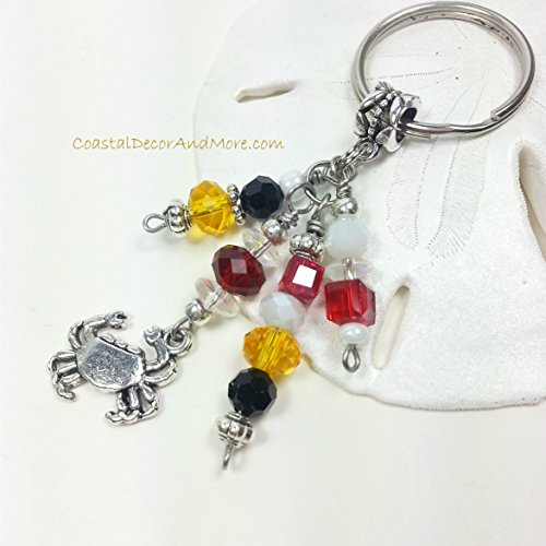 Maryland State Flag Color Beaded Key Ring with Crab Charm by Coastal Decor and More